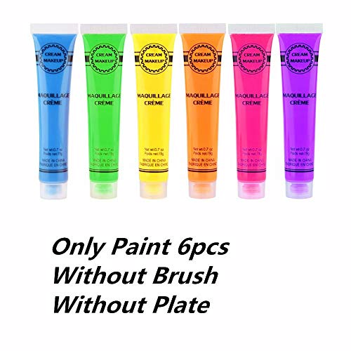 Face Paint Kit 6Pcs 6 Colors UV Blacklight Reactive Face & Body Glow Paint Art Party Club Halloween Dress Makeup Luminous Glowing Painting Kit(Only Colors) ()