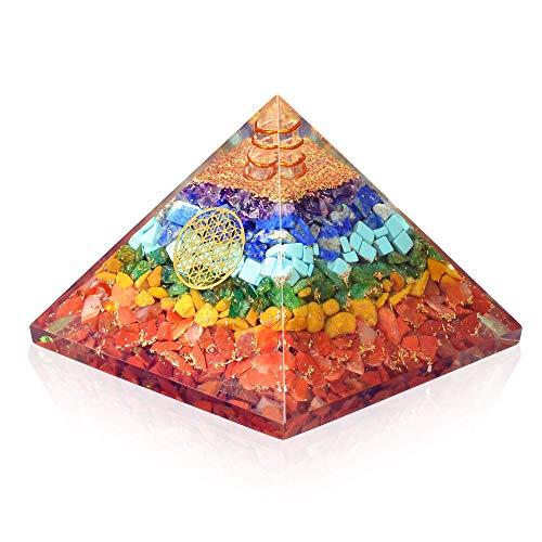 Orgonite crystal Seven chakra FOL pyramid - Glitter Stars Black Shield