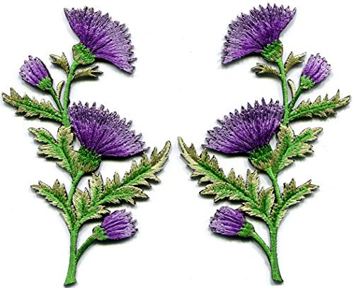 Lavender carnation spray thistle pair flowers floral bouquet embroidered appliques iron-on patches pair new