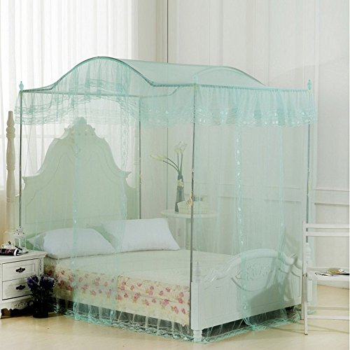 Ka canopy bed Water Green Princess 4 Corners Post Arched Bed Curtain Canopy Mosquito Netting (Full/Queen) (Bed Size Metal Canopy Queen)