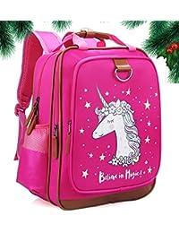 "Girls Backpack Unicorn 15""| Pink Kids School Bag for Kindergarten or Elementary"