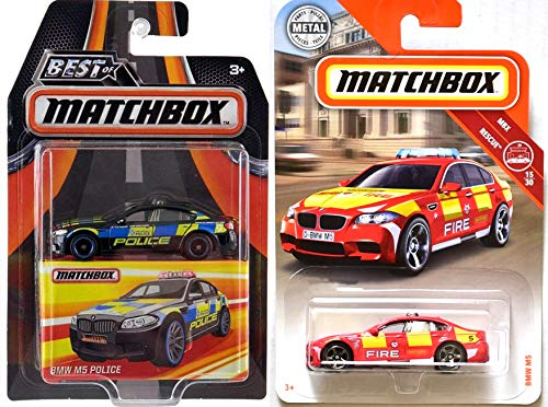 AYB Products Fire & Police Matchbox B M W M5 Police Best Premium Car + 2-Pack M5 Fire Rescue #15