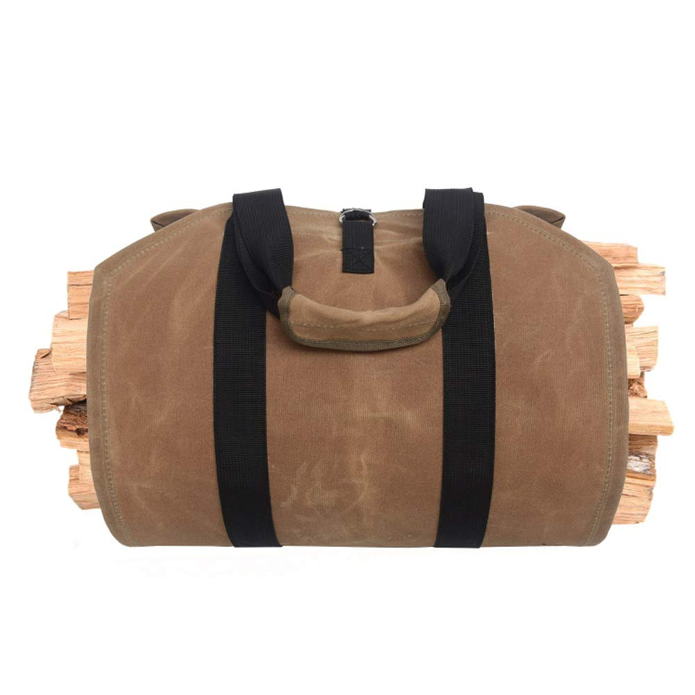 DAMEING Waxed Canvas Log Carrier Tote Bag Heavy Duty Wood Carrying Bag with Handles Durable Fireplace Wood Bag with Reinforce Cotton Straps for Camping