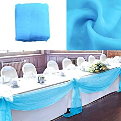 vLoveLife 33ft Turquoise Blue Sheer Organza Top Table Swag Fabric Table Runner Chair Sash Wedding Car Party Stair Bow Valance Decorations