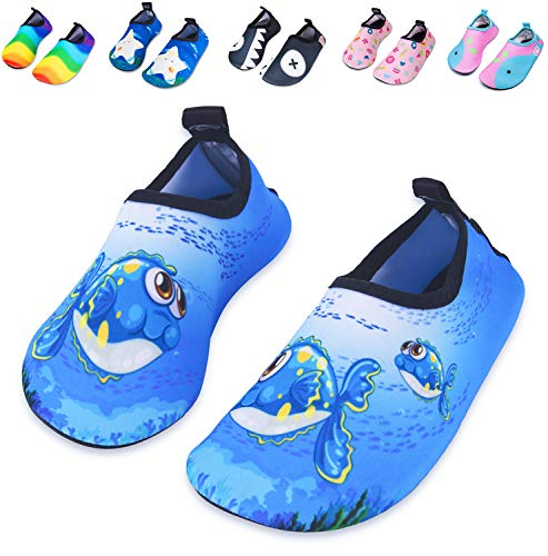 Mabove Kids Swim Water Shoes Non-Slip Quick Dry Barefoot Aqua Pool Socks Shoes for Boys & Girls Toddler (Blue Bigeye Fish, 18/19EU) -