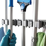 Mop Broom Holder-Broom Wall mounted Hooks- Free Combination Rubber Grip Pole Holder -Garden Tool Rack -Storage Organization Hangers -Mop Hanger with 4 Sliding Grippers and 4 Hooks