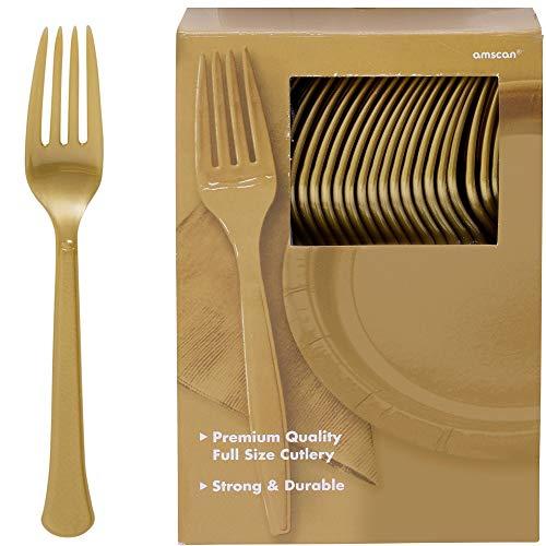 Amscan 43600.19 Plastic Forks, Gold, 10.9 x 10.3, -