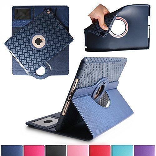 iPad Air 2 Case, Boriyuan Detachable 360 Degree Rotating Stand Flip Folio PU Leather Smart Cover with Auto Sleep / Wake Function + Card Slot + Screen Protector + Stylus For Apple iPad 6, Dark Blue