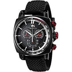 Ritmo Mundo Men's 2221/6 Black Red Racer Analog Display Swiss Quartz Black Watch
