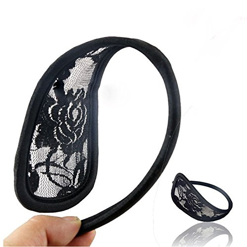 HuaYang New Fashion Sexy Women Lace Hollow C-Shape Seamless C-String Thong(Black)