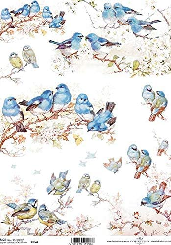 Birds Blue on Branches Decoupage Rice Paper R0654-1 x A4 Sheet of decoupage Rice Paper