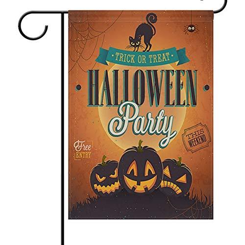 HUVATT Happy Halloween Pumpkin Garden Flag Decoration,Trick Or Treat Cat Holiday Double Sided Yard Decor Flags 12 x 18 -