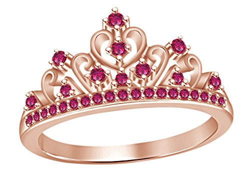 Simulated Ruby Cocktail Ring (Round Cut Simulated Ruby Princess Crown Ring In 14k Rose Gold Over Sterling Silver)