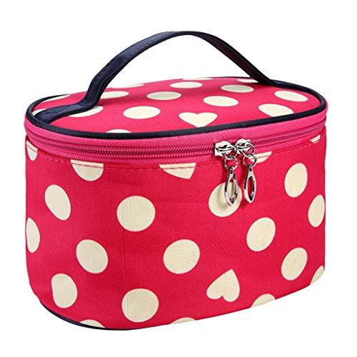 [Hatop Women Dot Series Waterproof Makeup Bag Travel Toiletry Kits Portable Package Cosmetic Bag (Watermelon] (Replica Makeup)