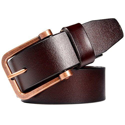 Ladies Leather Dress Belts for Women Fashion Western Designer Waist Belts With Solid Pin Buckle Wide 37mm (Suit Pant Size 42''-46'', ()