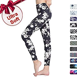 Print Leggings for Women Plus Size Soft with Design Floral Cute Under Pants