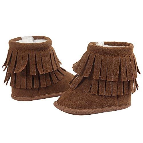 Gosear Zapatos de Bebé Suela Blanda Invierno Zapatos Calientes Botas Oscuro Gris Oscuro Marrón