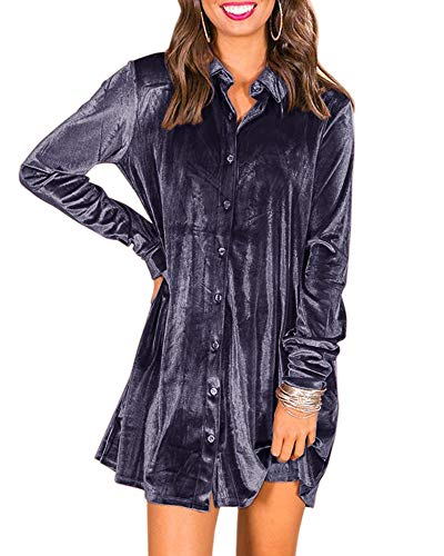 - Ivay Women's Fall Button Down Tshirt Dresses Velvet Tunic Dress with Pockets