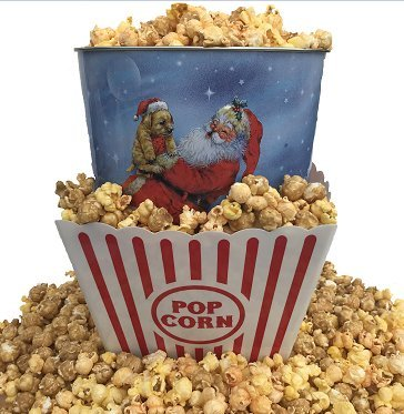 Gourmet Select Holiday three Flavored Popcorn Tin and Bucket gift bundle (Image may vary)
