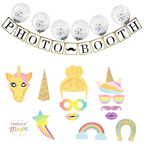 AMZTM Rainbow Unicorn Party Decorations Kit 13 PCS Photo Booth Props + 1 PCS PHOTO BOOTH Banner + 6 PCS 12'' Balloons - Sunglasses Wood Golden