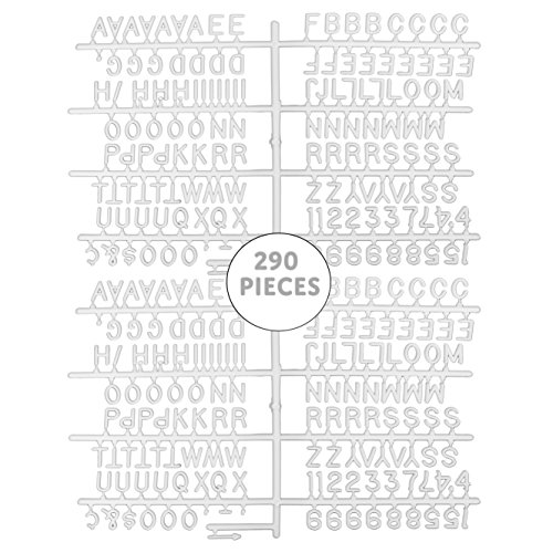 Universal One-Tab 3/4-Inch Letter Board Letters (290-Piece Set, .75-Inch); 1-Centimeter Alphanumeric White Characters w/ Alphabet, Numerals & (Gothic Letter Set)