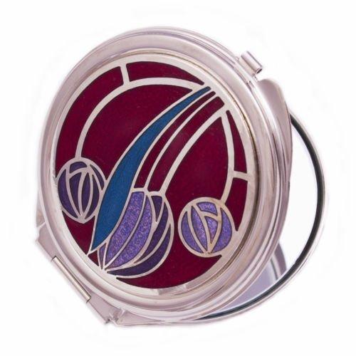 Really Nice Compact Mirror - Rennie Mackintosh Tulip & Rose Design - Red/Purple/Lilac/Aqua