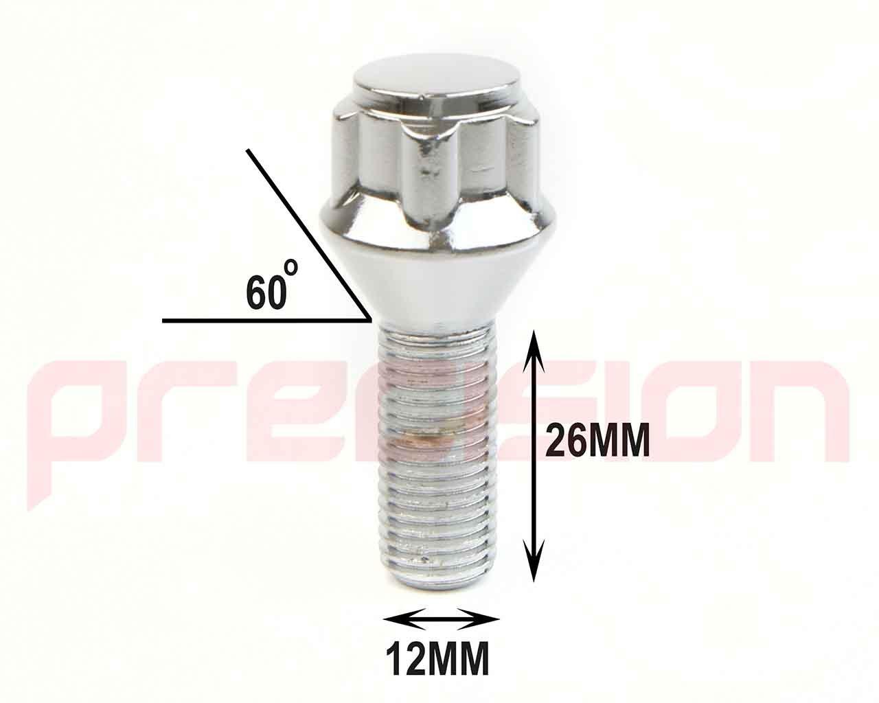Butzi 12x1.5 Chrome Anti Theft Locking Wheel Bolt Nuts /& 2 Keys for Toyota Prius