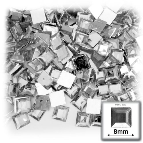 The Crafts Outlet 144-Piece Flat Back Loose Square Rhinestones, 8mm, Crystal - Rhinestones Square Piece 144