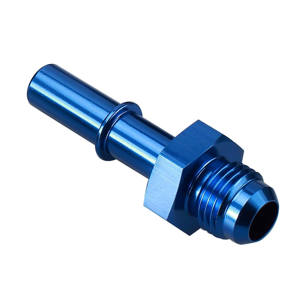 Blue Anodized AN6 Flare to 5//16 inch Aluminum 6 AN Male to 5//16 Quick-Disconnect Female Push-On EFI Hose Fitting