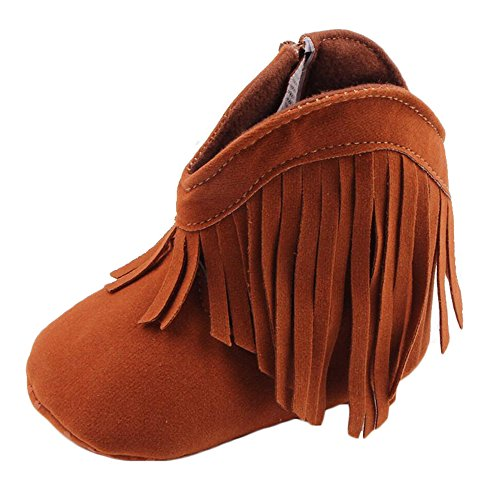 ESTAMICO Baby Girls' Cowboy Tassel Boots Brown US 6-12 Months ()