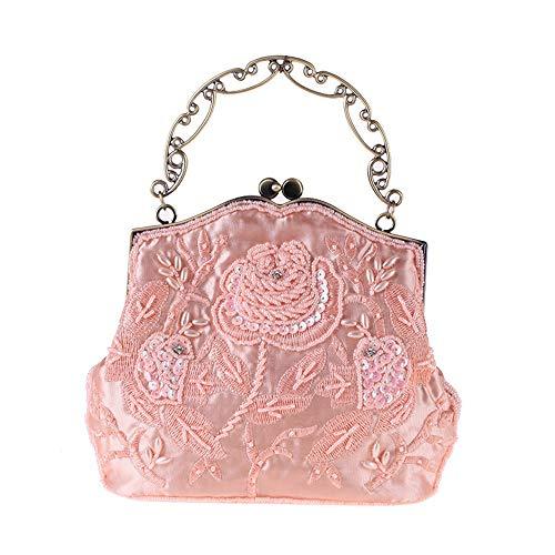 Yzibei pratico Borsa da sera da donna borsa da sposa borsa da sposa con frizione in rilievo vintage da donna (Colore : Nero) Rosa