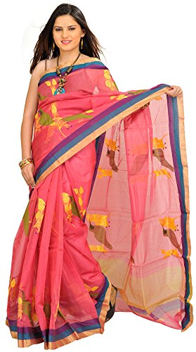 Exotic India Desert-Rose Chanderi Sari with Woven Sparrows and Striped Bo - Pink (Pink Indian Sari Adult Costume)