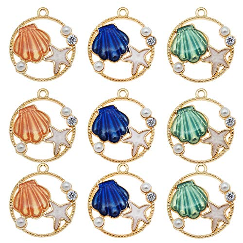 - JJG 30pcs Assorted Enamel Gold Plated Sea Shell Starfish Pearl Rhinestone Dainty Dangle Charm for Jewelry Making Necklace Bracelet Ankle Earring Jewelry DIY Findings