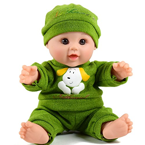 - TUSALMO 12 inch Vinyl Newborn Baby Dolls for Children's and Granddaughters Holiday Birthday Gift, Lifelike Reborn Washable Silicone Doll, Reborn Baby Doll. (Green)