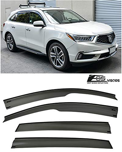 (Extreme Online Store Replacement for 2014-Present Acura MDX | EOS Visors JDM Mugen Style Smoke Tinted Side Vents Window Deflectors Rain)