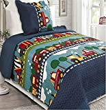 Home Must Haves Kids' Boys and Girls Polyester Double Sides Bedspread Quilt Coverlet and Sham 2pcs Set Twin Size 80x65 Inches Multi Color