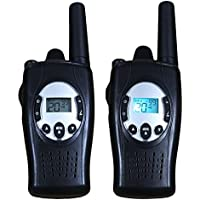 Topsung Self-rechargeable FRS Walkie Talkies TS088 with Crank Dynamo 22 Channels 5km Talk Range 2 Way Radio with Flashlight( Black, Pack of 2)