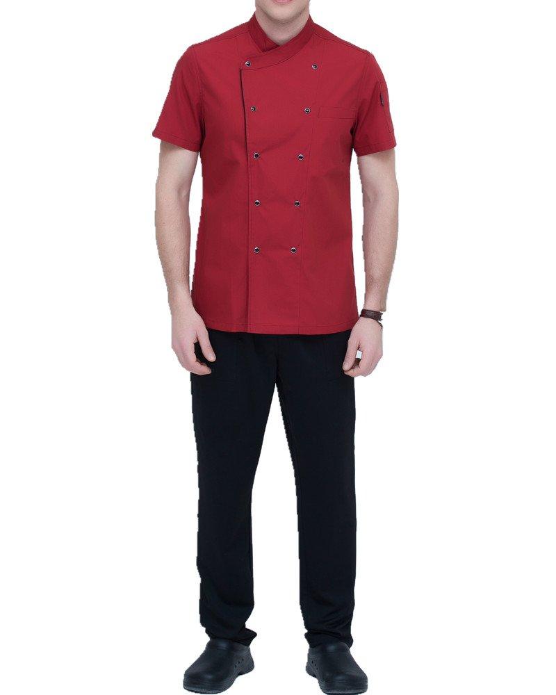 Boupiun Summer Chef Coat Fashion Short Sleeve Cool Unisex Double-Breasted Chef Jacket