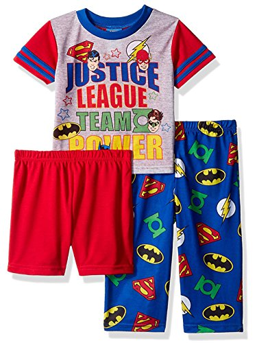 Justice League Toddler Boys' 3-Piece Pajama Set, Power/Punch Red, 3T - 3 Piece Sleepwear Set