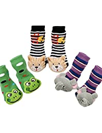 3 Pairs Winter Baby Socks Booties Rattle Socks - Cat, Frog, Elephant