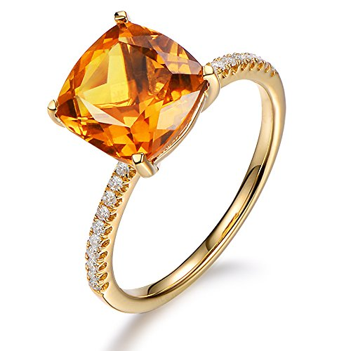 Fashion 3.85ct Natural Gemstone Brazilian Citrine Ring in 14K Yellow Gold with 0.15ct South Africa Diamond Wedding Ring Set by Kardy