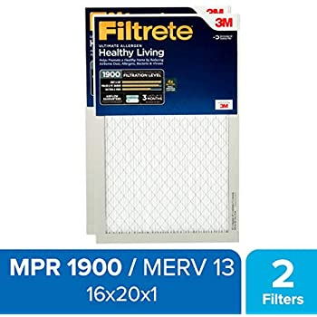 Filtrete 16x20x1, AC Furnace Air Filter, MPR 1900, Healthy Living Ultimate Allergen, 2-Pack