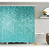 Ambesonne Turquoise Decor Collection, Small Dot Mosaic Tiles Shape Simple Classical Creative Artful Fun Design, Polyester Fabric Bathroom Shower Curtain Set with Hooks, Aqua Mint