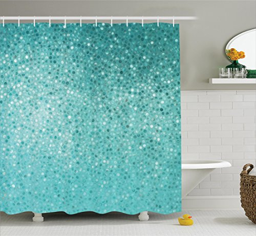 Ambesonne Turquoise Decor Shower Curtain Set, Small Dot Mosaic Tiles Shape Simple Classical Creative Artful Fun Design, Bathroom Accessories, 75 Inches Long