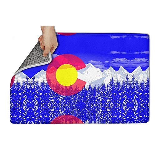 zyiirtpjfd Indoor Outdoor Entrance Doormat (31x19) Colorado Flag_0011_Colorado-Flag-6 Heavy Duty Door Mat Welcome Easy Remain Dirt No-Slip Backing Rugs Dirt Debris Mud Trapper