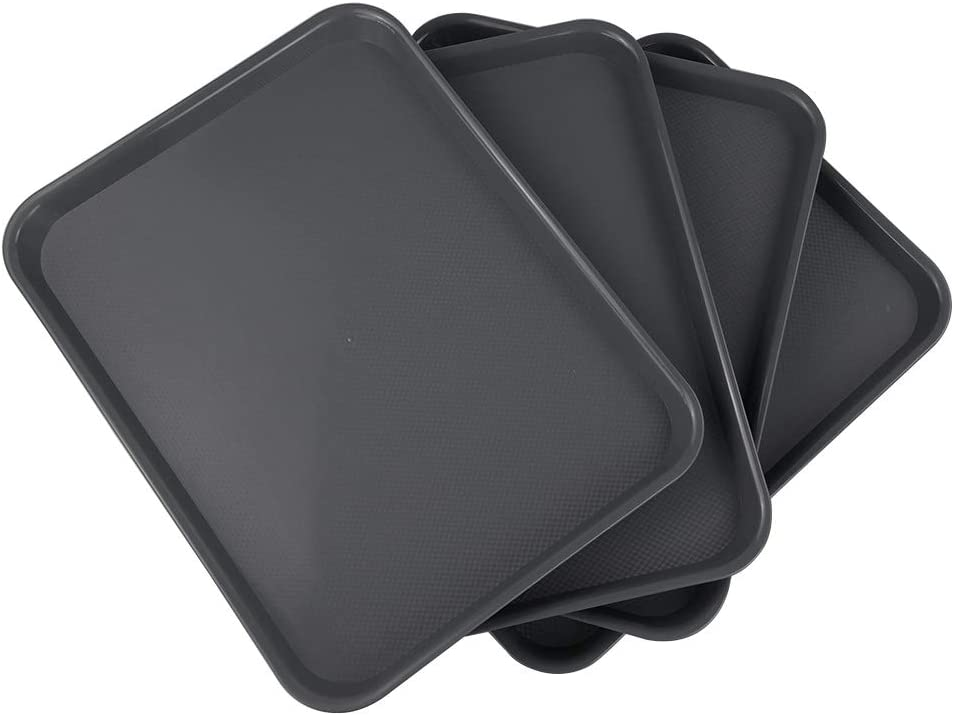 Xowine Gray Fast Food Tray, Plastic Cafeteria Serving Tray, Set of 4