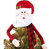 Amarko Large Christmas Tree Topper Hat Santa Claus with Buffalo Plaid Scarf for Holiday, Xmas Trees Ornament Christmas Decorations Party Supplies