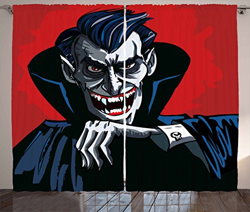 Ambesonne Vampire Curtains, Cartoon Cruel Old Man with Cape Sharp Teeth Evil Creepy Smile Halloween Theme, Living Room Bedroom Window Drapes 2 Panel Set, 108 W X 84 L inches, Blue Red Grey