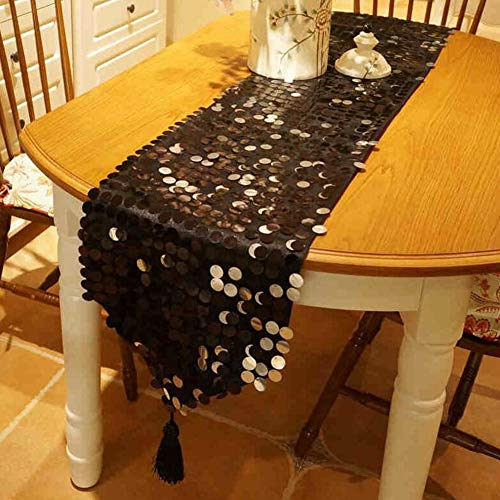 QY Table Runner Flash Black Big Sequins Table Runner Tassel Glitter Round Sequins Fabric for Table Runners in Party Wedding Banquet Table Linen Layout Decoration Table Runner]()