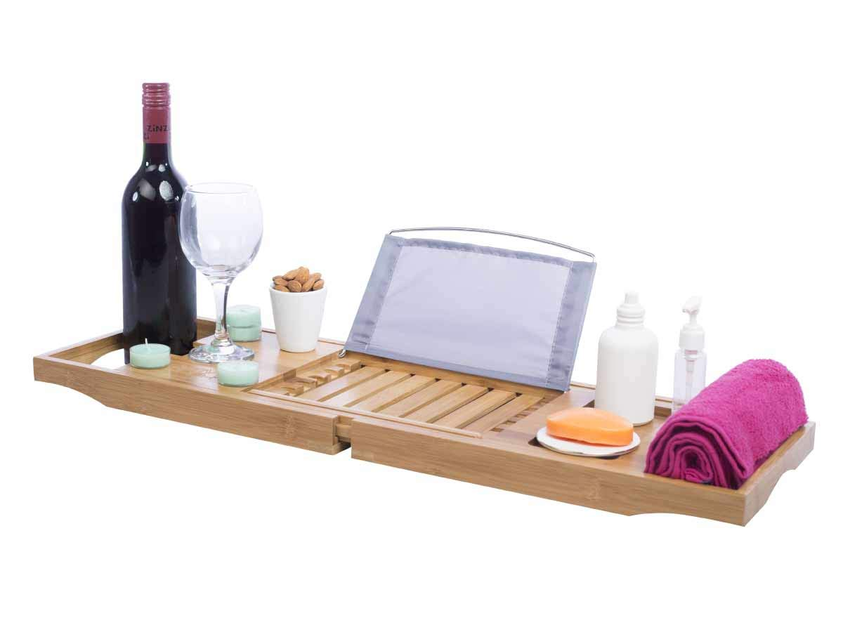 WowPinch Bamboo Bathtub Tray and Fully Organic Caddy - Relaxation Adjustable and Expandable Sides That Fits Every Bath